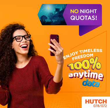 Hutch Pays Heed to Customer Feedback offering 100% Anytime Data without Night Time Quotas