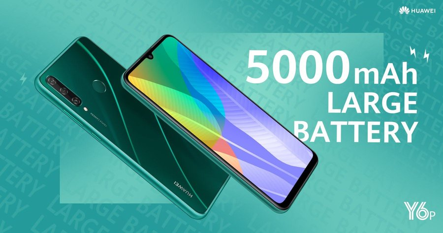4GB RAM + 64GB storage, Huawei Y6P powered with 5000mAh long-lasting battery